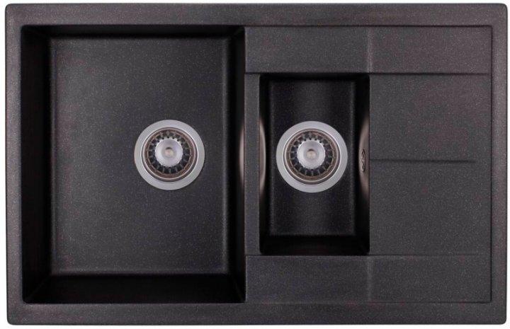 Кухонна мийка GRANADO Leon black shine (1001) + сифон подвійний для кухонної мийки Nova з ексцентриком - зображення 1