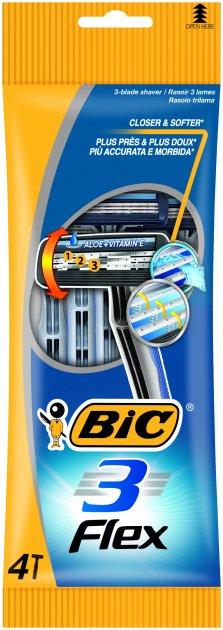 Набор бритв без сменных картриджей BIC Flex 3 4 шт (3086123242524) - изображение 1