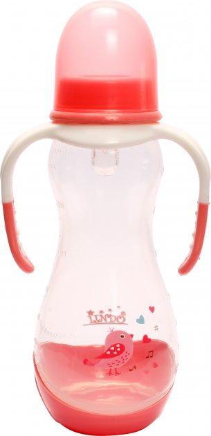 Бутылочка для кормления Lindo PK060 с ручками и силиконовой соской 250 мл Розовая (8850216000606) - изображение 1