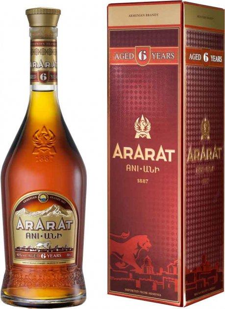 Бренди ARARAT Ани 6 лет выдержки 0.5 л 40% в подарочной коробке (4850001001966) - изображение 1