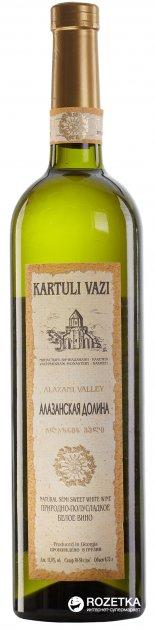 Вино Kartuli Vazi Алазанская долина белое полусладкое 0.75 л 11% (4860001680658) - изображение 1