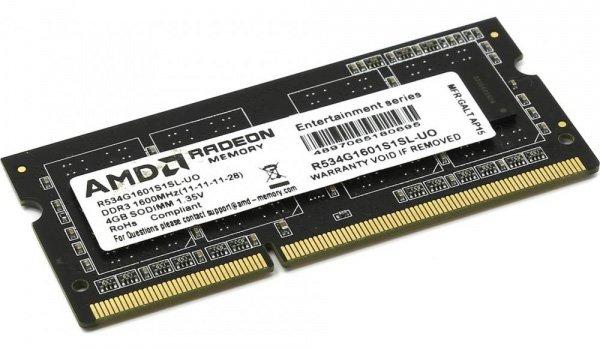 Оперативная память AMD SODIMM DDR3L-1600 4096MB PC3-12800 R5 Entertainment Series (R534G1601S1SL-U) - изображение 1