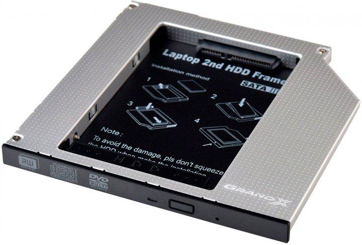Адаптер Grand-X для подключения HDD 2.5'' в отсек привода ноутбука SATA3 Slim 9.5 мм (HDC-26) - изображение 1