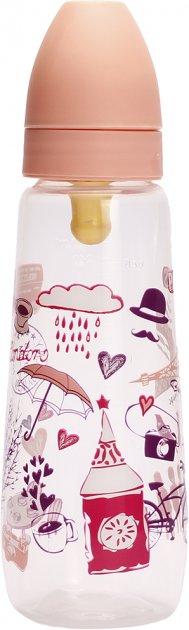 Бутылочка для кормления Lindo PK054/L с латексной соской 250 мл Розовая (8850216100542) - изображение 1