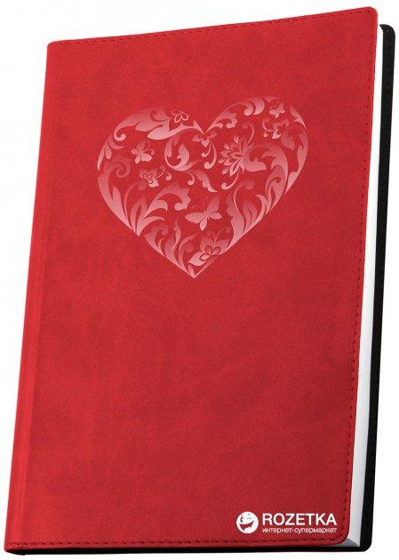 Деловая записная книга Optima Vivella Сердце A6 256 страниц линия Красная (20803-03)
