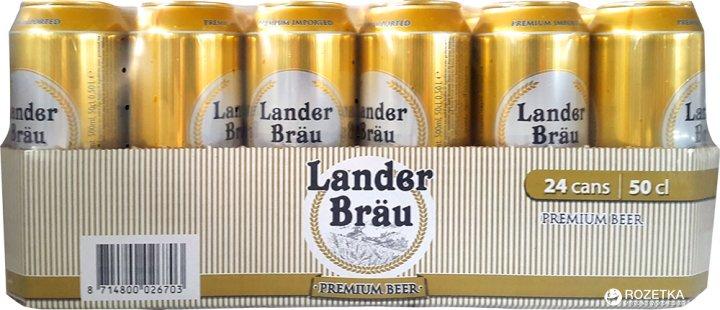 Упаковка пива Lander Brau Premium Pilsner світле фільтроване 4.9% 0.5 л x 24 шт (8714800026703) - зображення 1