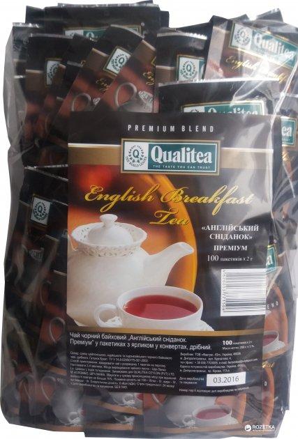 Чай чорний пакетований Qualitea Цейлон Англійський сніданок 100 пакетиків (4820053771506) - зображення 1