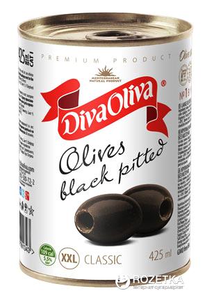 Маслины крупные XXL без косточки Diva Oliva 390 г (5060162901343 / 8436024291896) - изображение 1