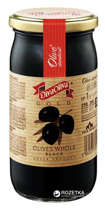 Оливки чорні з кісточкою Diva Oliva Gold 370 мл (5060235651298) - зображення 1