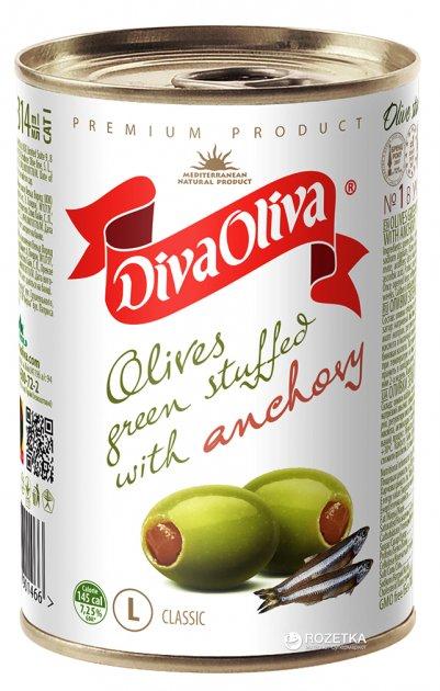 Оливки зеленые с анчоусом Diva Oliva 300 г (5060162901466 / 8436024292008) - изображение 1