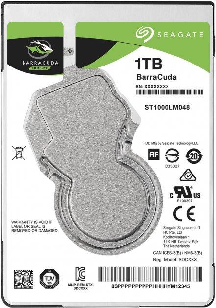 Жорсткий диск Seagate BarraCuda HDD 1TB 5400rpm 128MB ST1000LM048 2.5 SATA III - зображення 1
