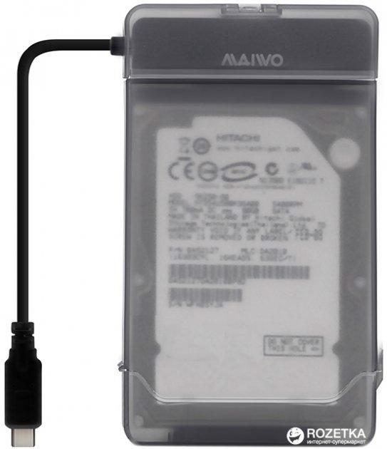 """Адаптер Maiwo для підключення HDD/SSD 2.5"""" SATA до USB 3.1 Type-C + контейнер захисний для HDD 2.5"""" (K104G1 black) - зображення 1"""