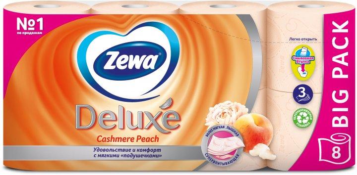 Туалетний папір Zewa Deluxe аромат персик тришаровий 8 рулонів (9011111035721) - зображення 1