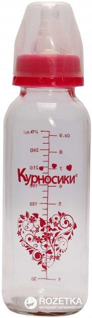 Бутылочка для кормления Курносики 7011 с круглой силиконовой соской 270 мл Розовая (8850217970113) - изображение 1
