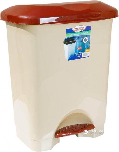 Відро для сміття Irak Plastik Stella з педаллю 45 л Бежеве (4572kmd) - зображення 1