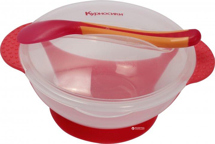 Тарелка на присоске Курносики 7055 с термоложкой Красная (4890210070551) - изображение 1