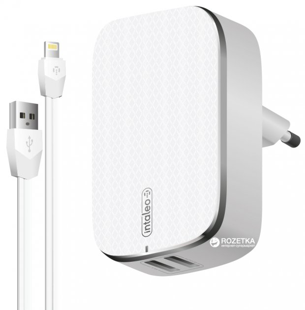 Мережевий зарядний пристрій Intaleo TCG242 з кабелем Lightning 2.4 A (1283126477454) - зображення 1