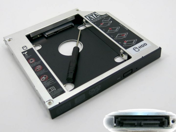 """Кишеня-адаптер для встановлення жорсткого HDD 2.5"""" SATA у відсік mSATA DVD-RW приводу 12.7 mm. Оптибей (optibay), Second HDD, SSD caddy! У блістері. (60321) - зображення 1"""