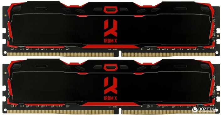 Оперативная память Goodram DDR4-3000 16384MB PC4-24000 (Kit of 2x8192) IRDM X Black (IR-X3000D464L16S/16GDC) - изображение 1
