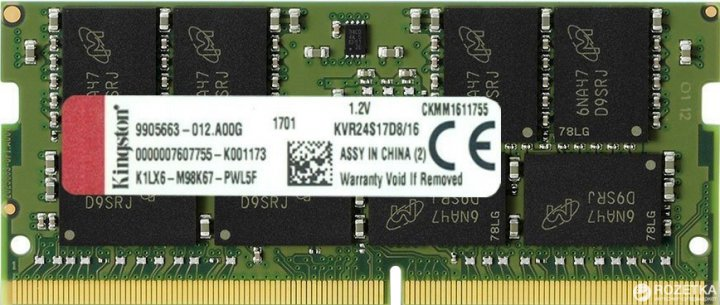 Оперативная память Kingston SODIMM DDR4-2400 16384MB PC4-19200 ValueRAM (KVR24S17D8/16) - изображение 1