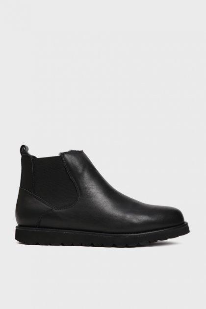 Мужские черные кожаные челси с мехом Dawson Preppy 43 XL18-78 - изображение 1