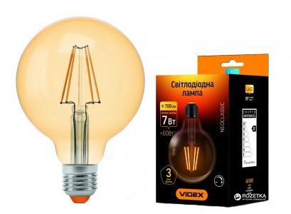 Світлодіодна лампа VIDEX NeoClassic (Filament) G95FAD 7W E27 2200K 220V з димером (VL-G95FAD-07272) - зображення 1