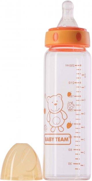 Скляна пляшка для годування Baby Team 250 мл (1201_помаранчевий) - зображення 1