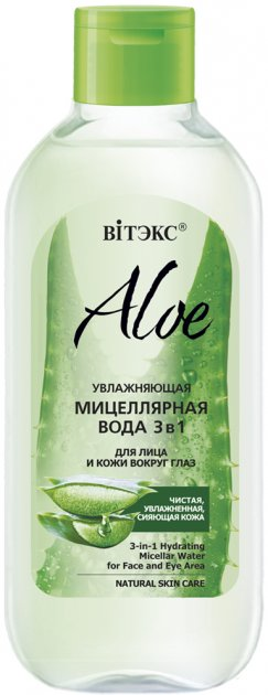 Мицеллярная вода для лица и кожи вокруг глаз Витэкс Aloe 97% увлажняющая 3 в 1 400 мл (4810153028839) - изображение 1