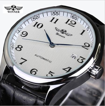 Мужские механические часы Winner Lux White, наручные с датой - изображение 1