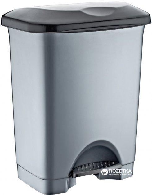 Відро для сміття Irak Plastik Stella з педаллю 45 л Сіре (4571kmd) - зображення 1