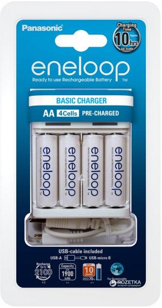 Зарядное устройство для аккумуляторов АА/ААА Panasonic Basic USB Charger + Eneloop 4 AA 1900 мАг (K-KJ61MCC40USB)