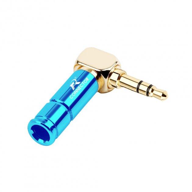 Штекер металлический угловой под пайку Jack 3.5 мм, TRS 3 pin R Connector Blue/Gold (48329) - изображение 1