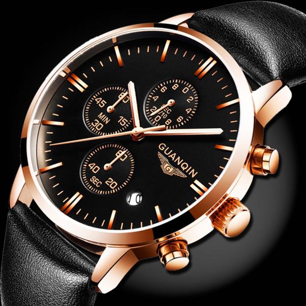 Мужские классические кварцевые часы Guanquin Digit Black 8801 - изображение 1