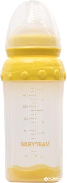 Стеклянная бутылочка для кормления Baby Team с широким горлом, с полипропиленовым чехлом и силиконовой соской 220 мл (1290) - изображение 1