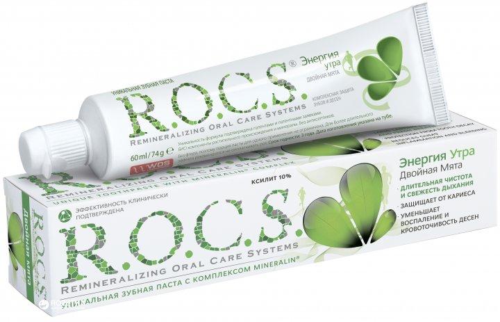 Зубная паста R.O.C.S. Энергия утра Двойная мята 74 г (4607034470463) - изображение 1