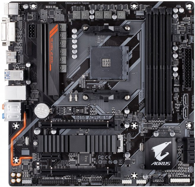Материнська плата Gigabyte B450 Aorus M (sAM4, AMD B450, PCI-Ex16) - зображення 1