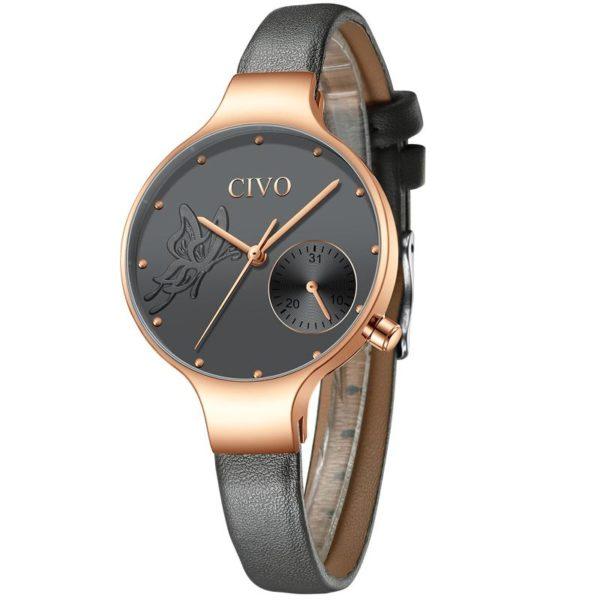 Часы женские CIVO 8094C | Leather Band Gray (1146684) - изображение 1