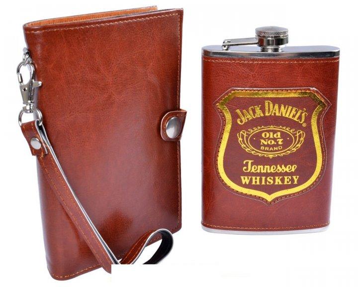 Фляга у шкіряній барсетці Jack Daniels 270 мл Гранд Презент PJ-2 - зображення 1