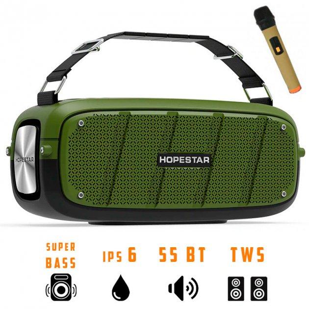Портативная беспроводная Bluetooth колонка Hopestar A20 Pro 55Вт Green с влагозащитой IPX6 и функцией зарядки устройств (A20G) - изображение 1