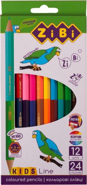 Карандаши цветные ZiBi Kids Line Double 24 цвета (ZB.2463) - изображение 1