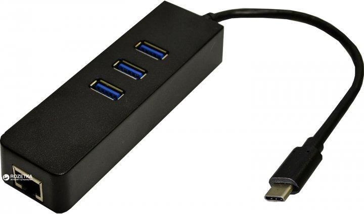Адаптер Dynamode USB 3.1 Type-C - RJ45 з 3-портовим хабом USB 3.0 (USB3.1-TypeC-RJ45-HUB3) - зображення 1