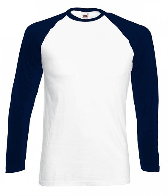 Футболка з довгим рукавом Fruit of the Loom Long sleeve baseball M WE Білий / Глибоко Темно-Синій (0610280WEM) - зображення 1