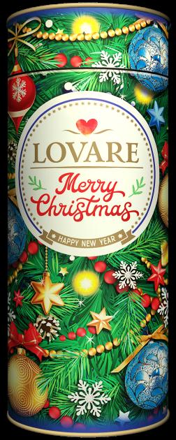 Бленд черного и зеленого чая Lovare Merry Christmas с лепестками розы и ароматом вишни и шелковицы 100 г (4820097818038) - изображение 1