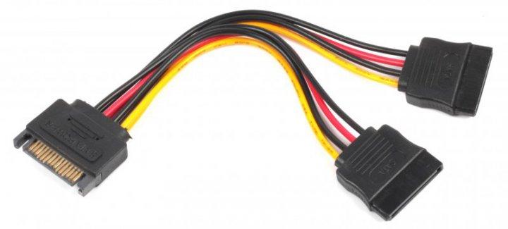 Кабель Cablexpert SATA - 2xSATA 0.15 м (CC-SATAM2F-01) - изображение 1