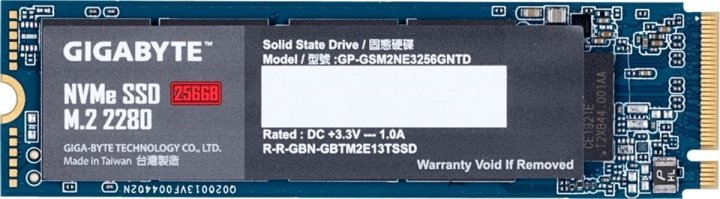 Gigabyte 256GB M. 2 2280 NVMe PCIe 3.0 x4 NAND TLC (GP-GSM2NE3256GNTD) - зображення 1