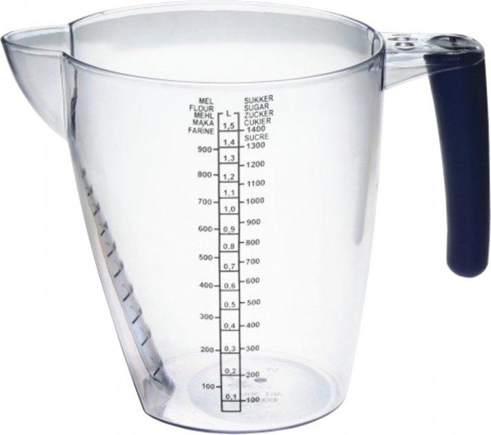 Мерная емкость Plast Team Прозрачный с резиновой черной ручкой 1.5 л (TEA-3013.2) - изображение 1