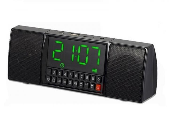 Портативна колонка з годинником USB Радіо, Bluetooth WS-1515 BT чорний - зображення 1