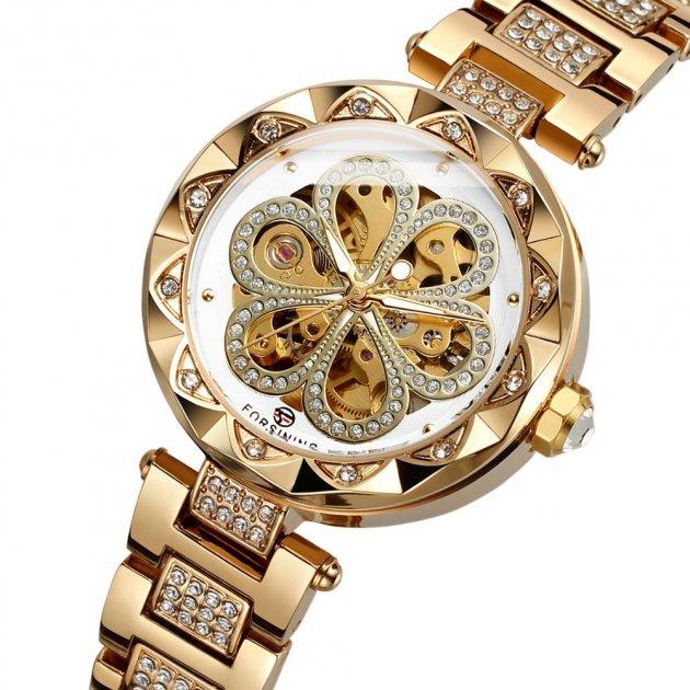 Наручний годинник AlexMosh жіночі Forsining Gold-White Flower Diamonds - зображення 1