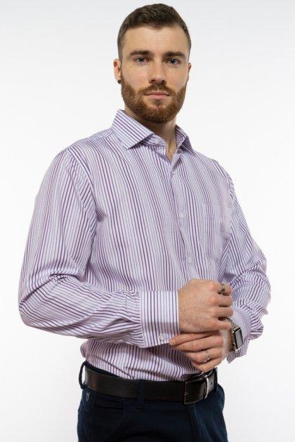 Рубашка классического покроя Time of Style 120PAR036 41-42 Фиолетовый/белый - изображение 1