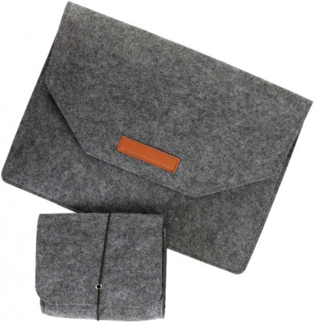 """Чохол для ноутбука Traum 13"""" з додатковим чохлом для БЖ Dark Grey (7112-45) - зображення 1"""